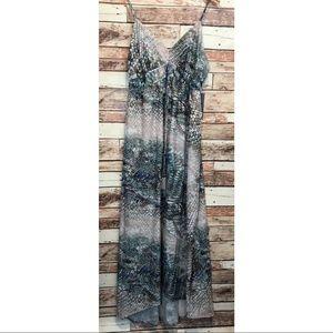 Jennifer Lopez Sleeveless Long Snake Print Dress